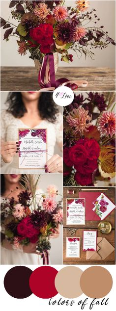 Choosing wedding colors is one of the most important decisions for a bride! What are the perfect colors for fall autumn weddings? Get inspired with our color palette ideas!