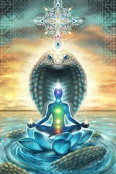 Visionary Artist Olivia Curry Kundalini Hippie Tapestry by Third Eye Tapestries Tantra, Kundalini Yoga, Guided Meditation, Merkaba Meditation, Om Gam Ganapataye Namaha, Art Visionnaire, Les Chakras, Psy Art, 3d Fantasy