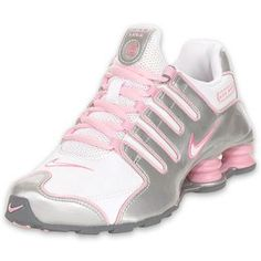 Nike Kids Shox NZ Running Shoe White/Silver/Pink