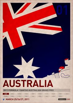 2011 Formula 1 Posters. Each country's national flag is incorporated into the graphics creating bold and cohesive posters.