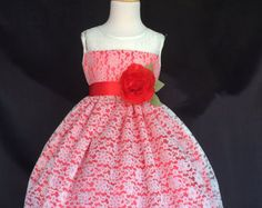 NEW Christmas Red Toddler Girl Pageant Recital Ivory Lace Summer Easter Dress S M L XL 2 4 6 8 10 12