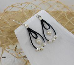 Brinco Pérolas e Couro Pearl Leather Earings
