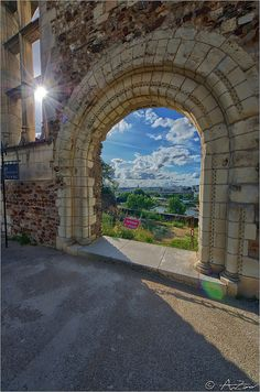 Arch view from Angers castle, Loire Valley, Maine-et-Loire, France