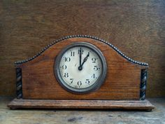 I can't wait to meet my mantle clock.  I know you are out there somewhere. Antique Large Wood Mantle Piece Clock in working by EnglishShop, $225.00