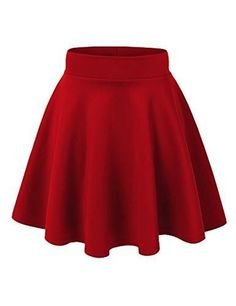 MBJ Womens Basic Versatile Strechy Flare Skater Skirt XL RED: This versatile skater skirt is a must to make an amazing outfit. You can wear it in any occasion - school, office, dates, and parties Skater Skirt Dress, Flared Mini Skirt, Skater Skirt Pattern, Skater Skirt Outfit For Summer, Burgundy Skater Skirt, Lila Outfits, Outfits For Teens, Casual Dresses For Teens, Diy Fashion