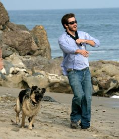 Jake Gyllenhaal + Dog = YESH PLZ  p.s. His dog's name is Atticus - To Kill A Mockingbird is only my #1 book EVER!