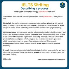 Another example of describing a process - how energy is produced from coal. Ielts Writing Task1, Opinion Writing, Academic Writing, Writing Words, Essay Writing, Writing Tips, English Exam, English Study, Learn English