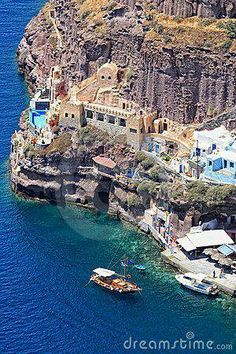 Fira Santorini, an old port on an Island of Greece.