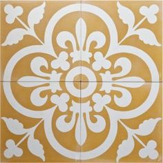 Mustard Royal cement cuban encaustic tile by Jatana