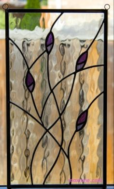 Stained glass panel with purple buds by moxnme on Etsy, $150.00 would look good with larger circular buds