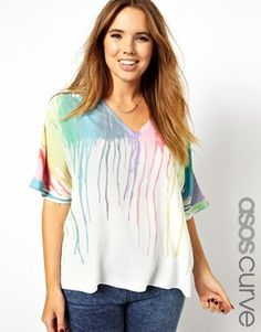 Image 1 of ASOS CURVE Top With Plunge Neckline In Melting Rainbow Print