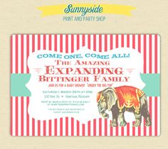 Vintage Style Circus Baby Shower Invitation - PRINTED SET - The Amazing Expanding Family