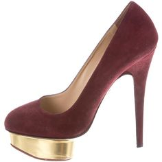 Pre-owned Charlotte Olympia Cindy Pumps (660 AED) ❤ liked on Polyvore featuring shoes, pumps, burgundy, suede shoes, pre owned shoes, burgundy suede pumps, rounded toe pumps and burgundy shoes