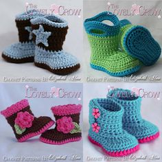 free crochet patterns for baby booties | Baby Booties Crochet Patterns All 4 Patterns one by TheLovelyCrow