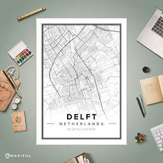 A map poster from Mapiful.com. A creative DIY tool to make your own map poster. This is 'Delft', my city, but they forgot to draw the thick black line on the left further down...