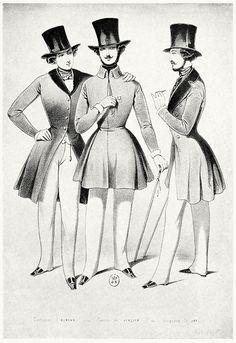 Men's wear (1830-1848). Suits by Humann, canes by Verdier, hats by Jay.    From Le romantisme et la mode (Romanticism and fashion), by Louis Maigron, Paris, 1911.