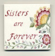 Sister Gift Ceramic Tile Magnet Sisters Are by BethStephensArt