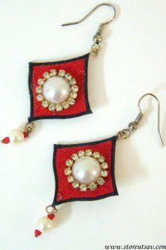 Earrings Eco Jute Dangle Rhombus from West Bengal in East India #bestofEtsy #etsyretwt