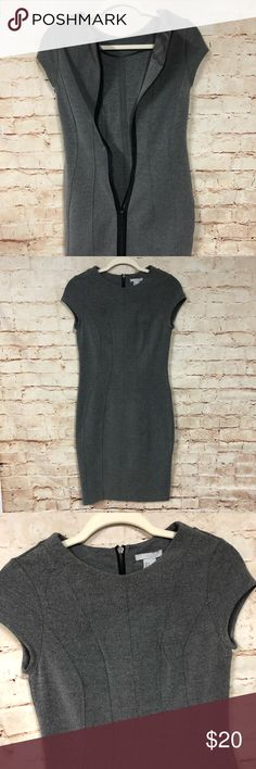 Small H&M Gray Bodycon Dress Full Zipper Midi Like new, sleek gray fitted dress. Nice seaming in front. Full length zipper in back. 79% Polyester, 18% Viscose, 3% Elastane. Delicate wash line dry. H&M Dresses Midi
