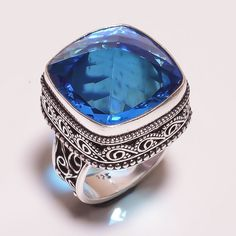FACETED SWISS BLUE TOPAZ .925 SILVER HANDMADE JEWELRY RING SIZE 9 (JA689) #Handmade