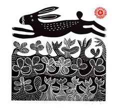 Title Hare Artist Hilke MacIntyre Medium linocut, edition of 50 Stamp Printing, Screen Printing, Linocut Prints, Art Prints, Block Prints, Lino Art, Linoprint, Rabbit Art, Tampons