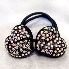 Crystal AB Rhinestone Hearts Hair Tie Band Ponytail Holder, BAR-3038 *** See this great product.