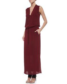 Sleeveless V-Neck Maxi Dress, Women's, Size: LARGE, Green - Vince