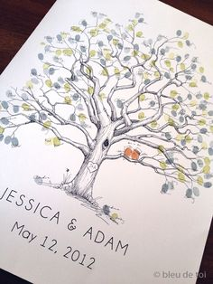 Extra Large Twisted Oak Design, The original hand-drawn guest book fingerprint tree (ink pads sold separately) via Etsy Wedding Tree Guest Book, Guest Book Tree, Wedding Book, Diy Wedding, Rustic Wedding, Fall Wedding, Wedding Ideas, Wedding Wall, Guest Books