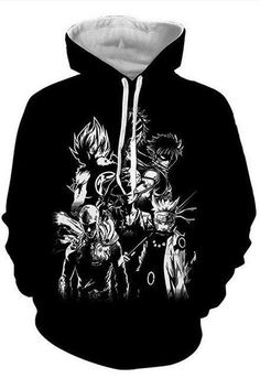 Men's Clothing Men Women Black Sweatshirts Dragon Ball Goku Crossover One Piece Luffy Fleece Streetwear Strongest Anime Monkey Hoodies