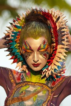 Artistic and colorful fantasy make-up look accented with crystals and red bejewe… – Hobbies paining body for kids and adult Boho Gypsy, Make Up Art, How To Make, Fantasy Make Up, Foto Fashion, Too Faced, Maquillage Halloween, Creative Makeup, Costume Makeup