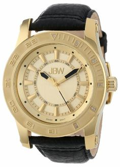 JBW Men's J6273B  18K Gold-Plated Stainless Steel 11 Diamond Leather Watch