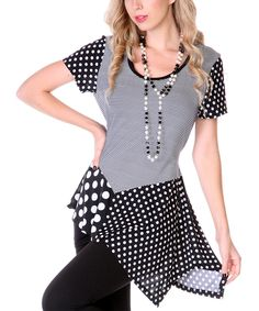 Black & White Polka Dot Asymmetrical Tunic | Daily deals for moms, babies and kids