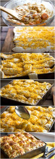 Chicken Casserole with Lattice Breadstick Top