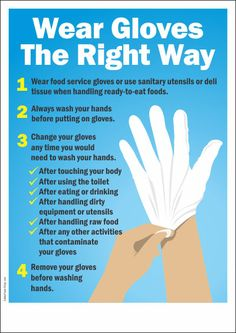 Food Safety poster containing the proper guidance on how and when to wear gloves while working in the kitchen or in food serving industry, to prevent food poisoning by practicing hygienic food preparation and handling. Kitchen Safety Tips, Food Safety Tips, Food Tips, Health And Safety Poster, Safety Posters, Food Safety Training, Ladder Safety Training, Food Safety And Sanitation, Kitchen Hygiene