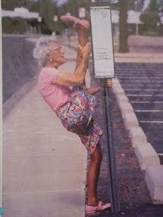 Granny splits! LOL!