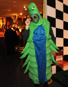 Jason Tyler, of Federal Hill, shows off his hand-crafted caterpillar costume.