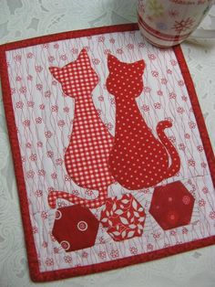 Looking for your next project? You're going to love Calico Cats Mug Rug by designer 2strings.