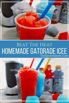 Keep your family happy and hydrated with these easy to make Gatorade Icee's. Homemade Icee Recipe, Homemade Slushies, Homemade Gatorade, Summer Drinks, Fun Drinks, Summer Fun, Beverages, Slushie Recipe, Frozen Drinks
