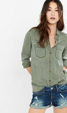 olive green silky soft twill boyfriend shirt