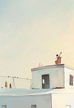 Girl playing cello on the roof of a white house illustration Concept Art, Cool Art, Anime Art, Folk, Scenery, Digital Art, Illustration Art, Sketches, Color Palettes
