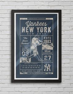 New York Yankees - Champions Collection - Vintage Baseball Print on Etsy, $18.00