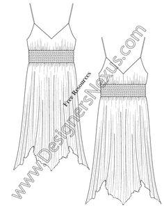 V66 Handkerchief Hem Dress Sketch Fashion Flats Illustrator