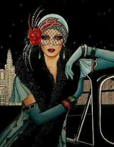 Flapper Girl Fashion Poster, Gift For Women, Teal Green Flapper Dress & Headdress, Stars Illustration Wall Art Art Deco Illustration, Illustration Fashion, Digital Illustration, Arte Fashion, Art Deco Fashion, Fashion 1920s, Girl Fashion, Trendy Fashion, Harlem Renaissance Fashion