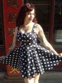 Navy and White Polka Dot Pinup Dress   Smak Parlour Boutique