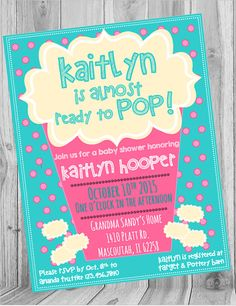 Ready to Pop Baby Shower Invite  Check out this item in my Etsy shop https://www.etsy.com/listing/247485222/ready-to-pop-shower-invite-chalkboard