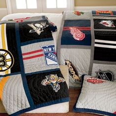 I LOVE this bedding! (Pottery Barn Teen) If only my boys were as big of hockey fans as me. . . .