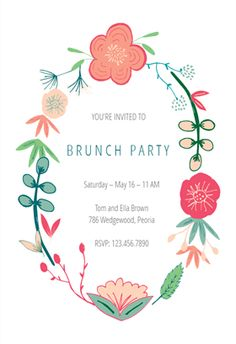Invitation Templates Free Fascinating Laurel Semi Frame  Free Brunch & Lunch Invitation Template .