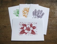 Hand printed flower cards linocut set of 4 by jessnielsen on Etsy, $12.00
