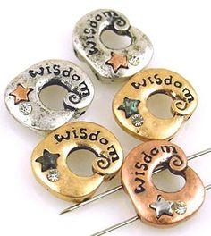 5 wisdom mixed metal 2 Hole Slider Beads 10996
