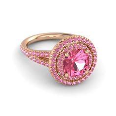Round Pink Tourmaline 14K Rose Gold Ring with Pink Tourmaline | Eloise Ring